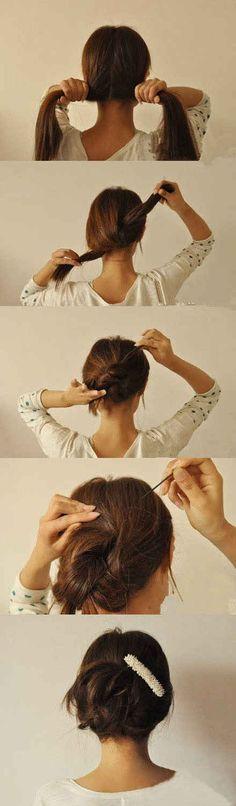 Du kannst Deine Haare natürlich auch knoten und mit ein paar Spangen fixieren.