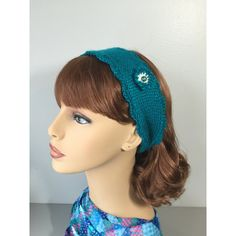 Turquoise Blue Knitted Headband with Crochet Border Bead Flower (€11) ❤ liked on Polyvore featuring accessories and hair accessories