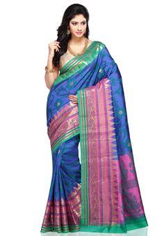 Blue Pure Banarasi Tussar Silk Saree with Blouse