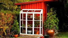 greenhouse and garden shed combo