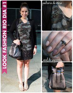 Look, Fashion Rio, estampa + textura, renda, camuflado, pedrarias, bucket bag, Starving Store, anel de falange, sapinho, cardigã, sandália nude
