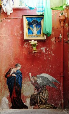 """""""The Annunciation"""", Orazio Gentileschi by Zilda. On Humor because of the laundry"""