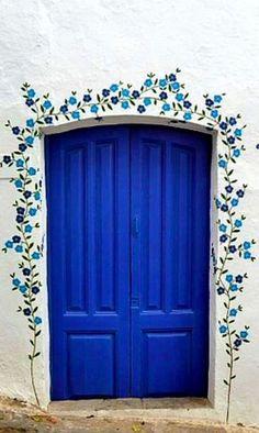 Pretty blue door in Mojácar, Almería, Spain. Cool Doors, Unique Doors, The Doors, Windows And Doors, Entrance Doors, Doorway, Garage Doors, Entrance Ideas, Painted Doors
