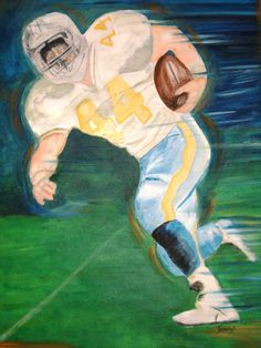 Acrylic on canvas 24x18 Football Player by ArteGraciela on Etsy, $150.00