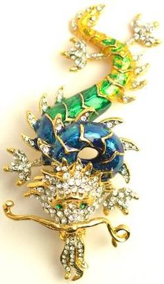 Green / Blue Enamel Dragon Brooch