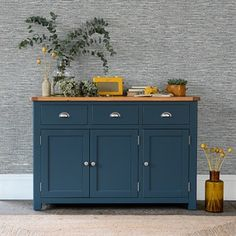 Westcote Blue Large 3 Door Sideboard - The Cotswold Company Kitchen Sideboard, Sideboard Decor, Painted Sideboard, Large Sideboard, Oak Sideboard, Blue Furniture, Dining Room Furniture, Painted Furniture, Furniture Nyc