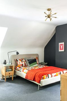 Simple, modern bedroom for a teen. Design by Shirley Meisels.