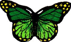"""[Single Count] Custom and Unique (3"""" by 1 3/4"""" Inches) Summer Floral Gardens Beautiful Bugs Spotted Butterfly Iron On Embroidered Applique Patch {Green, Yellow, and Black Colors}"""