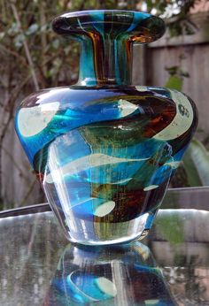 Art Glass : A Maltese Mdina glass Vase - circa 1970's - Limited Edition