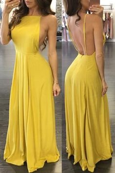 Sexy Yellow Spaghetti Straps Porm Dress, Backless Satin Prom Dresses,Wedding Party Gowns,Evening Par on Luulla Floral Maxi Dress, Dress Skirt, Open Back Prom Dresses, Dress Long, Long Dresses, Floor Length Dresses, Popular Dresses, Party Gowns, Yellow Dress