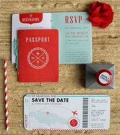 Travel Themed wedding invitations - Travel themed wedding ideas - Travel lover wedding ideas - wedding invitations for long distance couple - destination wedding invitations - travel wedding ideas - Blue and red wedding ideas Passport Wedding Invitations, Creative Wedding Invitations, Wedding Invitation Suite, Wedding Stationary, Invitation Design, Invitation Cards, Invites, Invitation Ideas, Ticket Invitation