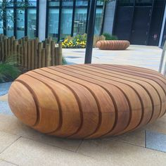 Pebble Seat Design: Large hollow Naturally Very Durable Hardwood Seat, comprising various section size timbers - Woodscape Bespoke Hardwood Street Furniture