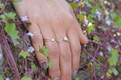 Skinny stacking gold rings. Opals, moonstones and prety diamonds.