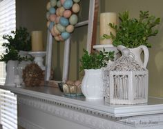 Easter mantle. Love the greenery and white porcelin.