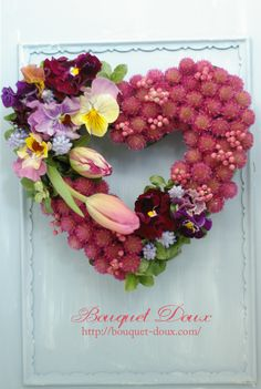 spring heart shape wreath  http://bouquet-doux.com/