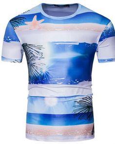 0feea5a2 2017 New Summer Men's Clothing Fashion Hawaii Beach Print T Shirt Men Short  Sleeve Round Collar Hip Hop T-Shirts Men Tees
