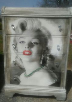 Marilyn Monroe distressed waterfall chest. Custom designed.