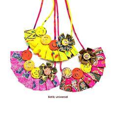 NK007 Yellow Fabric flower pleated Batik.Bib by BATIKUNIVERSAL #colornecklace #spring #summer #trend #fashion #statement #necklace #unique #handcraft