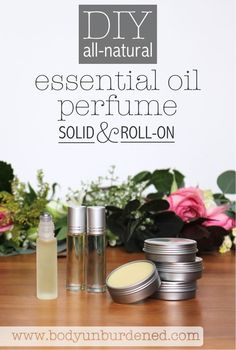 Most store-bought perfumes are filled with unhealthy chemicals. BUT you can make your own natural perfume super easily with essential oils! DIY all-natural essential oil perfume: solid and roll-on. [natural beauty, holistic health, natural remedies, essential oils, homemade beauty]