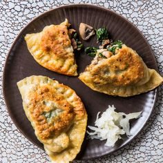 To make this vegetarian, omit bacon and add 4 Tbsp. olive oil for browning mushrooms. If you want to have a pierogi party, check out three more fillings for Kielbasa, Sauerkrat, and Potato Pierogies, Beef, Onion, and Cheddar Pierogies, and Cottage Cheese and Blueberry Pierogies.