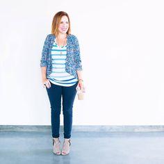 What To Wear   Blue Outfit, Striped Blue Tee, Cabi Tank, Vintage Cardigan, Silk Multicolor Cardigan, Dark Denim, Skinny Jeans, Peep Toe Booties #RachWear