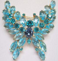 Vintage Eisenberg Ice Butterfly Turquoise Rhinestone Brooch Pin