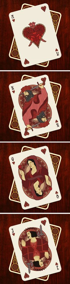 NOUVEAU Playing Cards - Ace of Hearts / King of Hearts / Queen of Hearts