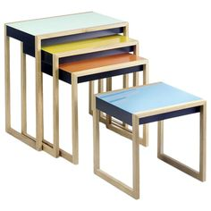 Nesting Tables by Josef Albers | See more antique and modern Nesting Tables and Stacking Tables at http://www.1stdibs.com/furniture/tables/nesting-tables-stacking-tables
