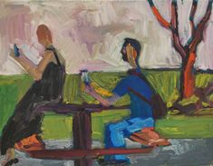 People with cell phones on Park Bench. Somewhat evocative of David Park from the bay area figurative movement. Bay Area Figurative Movement, Nevada Mountains, Spring Day, Beautiful Paintings, Kendall, Phones, Bench, David, Park