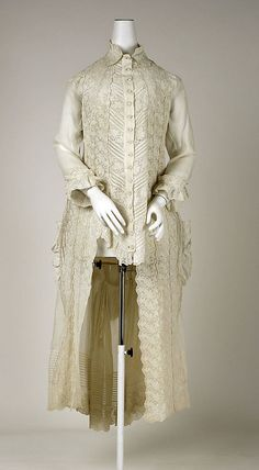 1886; Cotton polonaise bodice, would have been worn with a matching underskirt and some kind of bustle.