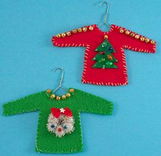Have some fun with the ugly Christmas sweater trend and make a DIY Ugly Christmas Ornament this year. These simple Christmas ornaments will add a fun vibe to your family's tree this December. Diy Ugly Christmas Sweater, Christmas Ornaments To Make, Felt Ornaments, Handmade Christmas, Christmas Crafts, Ugly Sweater, Simple Christmas, Christmas Ideas, Christmas Décor