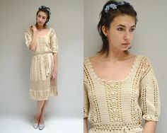 Crochet Dress  //  Bohemian Wedding Dress  by VintageUrbanRenewal