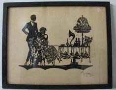 Antique Art Deco Silhouette Cut Paper Signed Lotte Gutzlaff Germany Flapper Man | eBay