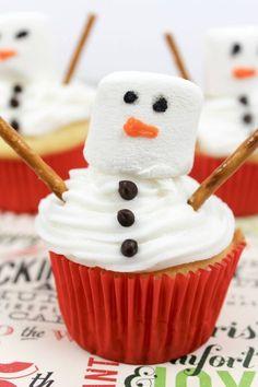 melting snowman cupcakes