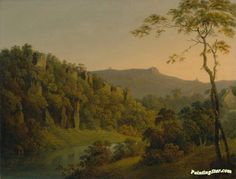 Matlock dale,looking toward black rock escarpment Artwork by Joseph Wright of Derby Hand-painted and Art Prints on canvas for sale,you can custom the size and frame