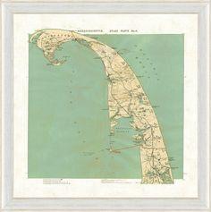 Map of Cape Cod, Massachusetts - Vintage Print Gallery - $179 - domino.com