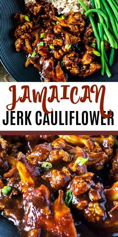 Jamaican Jerk Cauliflower is inspired by the popular Jamaican Jerk dishes. Cauliflower florets are seasoned and baked then smothered in homemade Jamaican Jerk Sauce that is full of bold and indulgent flavors. Tasty Vegetarian Recipes, Vegetable Recipes, Healthy Recipes, Vegan Soul Food Recipes, Diet Recipes, Jamaican Dishes, Jamaican Recipes, Jerk Recipe, Caribbean Recipes