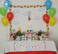 Mickey Mouse Clubhouse Party...♥ Fun colourful table with all the Clubhouse characters ♥ Mickey Mouse Clubhouse cake pops ♥ Mickey Mouse birthday cake ♥ Mickey Mouse Clubhouse themed party cupcakes and more! ♥
