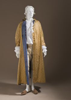 Man's At-home Robe (Banyan) France, circa 1760 Costumes; nightwear (entire body) Silk satin with supplementary weft float patterning; lined with striped plain weave silk Center back length: 51 1/2 in. (130.81 cm) Purchased with funds provided by Suzanne A. Saperstein and Michael and Ellen Michelson, with additional funding from the Costume Council, the Edgerton Foundation, Gail and Gerald Oppenheimer, Maureen H. Shapiro, Grace Tsao, and Lenore and Richard Wayne (M.2007.211.949)