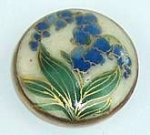 Vintage Satsuma Pottery Button Bluebells Flowers Green Leaves on Creamy White