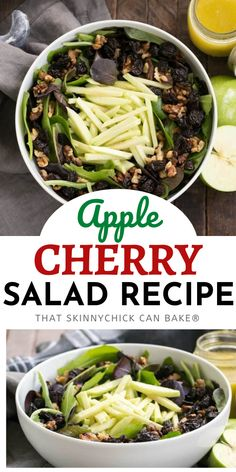 Apple, Cherry, Walnut Salad with Maple Dressing - A fabulous fall/winter salad that always gets rave reviews! Perfect for fall entertaining or your Thanksgiving menu. It's always a hit! Best Side Dishes, Side Dish Recipes, Easy Dinner Recipes, Fall Recipes, New Recipes, Delicious Recipes, Tasty, Cherry Salad Recipes, Chicke Recipes