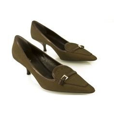 e52078dbd10 PRADA Brown Fabric   Leather Pointed Toe Pumps Kitten Heels size 37 shoes