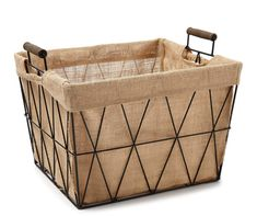 This stylish bin has a diamond design with a sturdy metal construction. Perfect for helping you organize and declutter with ease, its super charming burlap liner makes an impression at the office in your home.