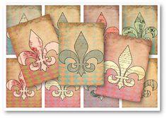 Digital Collage Sheet Download  Fleur-De-Lis Tags   by vintagebyme