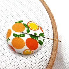Mandarin-Orange Needle Minder-Reversible Needleminder-Magnetic-Cross Stitch-Embroidery-Sewing-Needlepoint-Fruit Needle Minder-Craft Supply