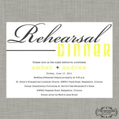 Rehearsal Dinner Invitation  Modern Gray and Yellow by CAMRYNJOLEE, $15.00