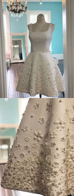 A-Line Square Above-Knee White Homecoming Dress with Appliques Beading by MeetBeauty, $129.81 USD White Homecoming Dresses, Long Prom Gowns, Plus Size Prom Dresses, Cheap Prom Dresses, Bridesmaid Dresses, Wedding Dresses, Dance Dresses, Long Dresses, Graduation Dresses