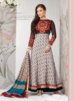 Conspicuous Off White And Black Embroidery Anarkali Suit, Product Code :9594, shop now http://www.sareesaga.com/conspicuous-off-white-and-black-embroidery-anarkali-suit-9594  Email :support@sareesaga.com What's App or Call : +91-9825192886