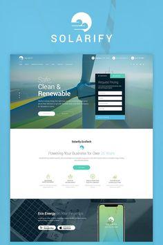 Solar Wind Green Renewable Energy Website Template - tecnology World Solar Energy Panels, Best Solar Panels, Solar Energy System, Solar Power, Wind Power, Power Bike, Nikola Tesla, New Energy, Save Energy