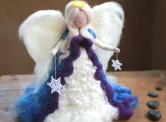 Needle felted 12 Waldorf Tree Top Angel by CloudBerryCrafts Christmas Tree Tops, Handmade Christmas Tree, Felt Christmas, Christmas Angels, Angel Crafts, Tree Crafts, Felt Crafts, Wet Felting Projects, Family Tree Frame